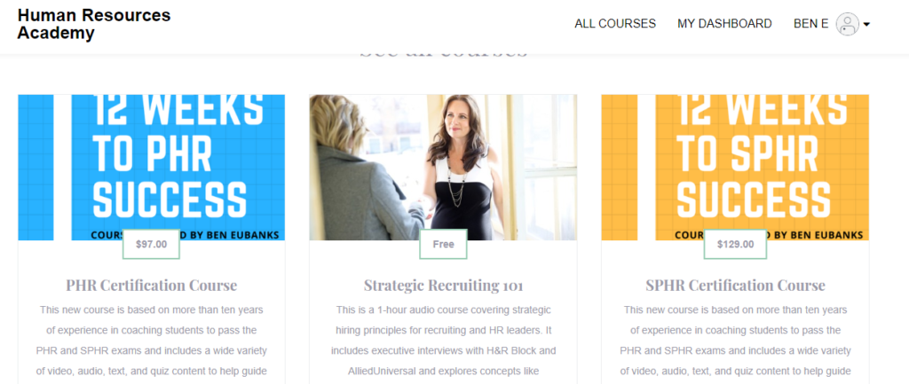 hr certification courses