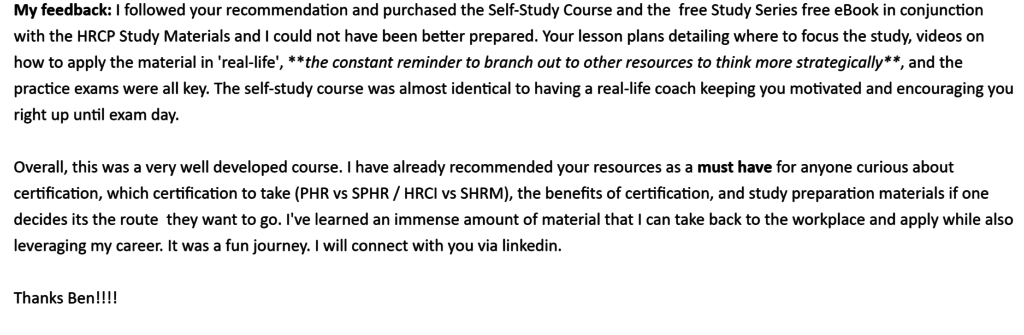 hr certification course feedback