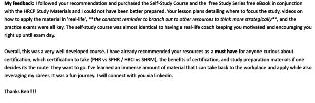 hr certification course feedback